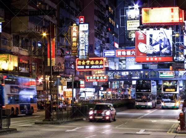 A View Of A Busy Hong Kong Street Lit Up At Night No. 2 ...