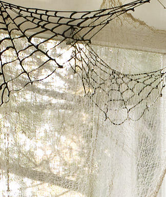 Spiderwebs Made Of Black Puff Paint Sprayed Onto Nonstick Baking Sheets Perfect Decor For Ceiling Corners Instructions Here