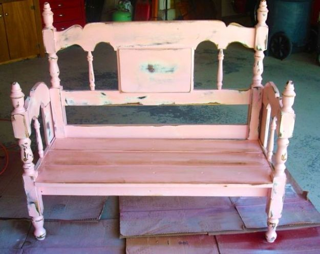 turn an old bed frame into a bench - design dazzle