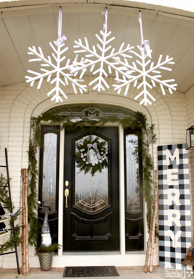 Black and White Christmas Porch - Design Dazzle on Black And White Backyard Decor  id=59433