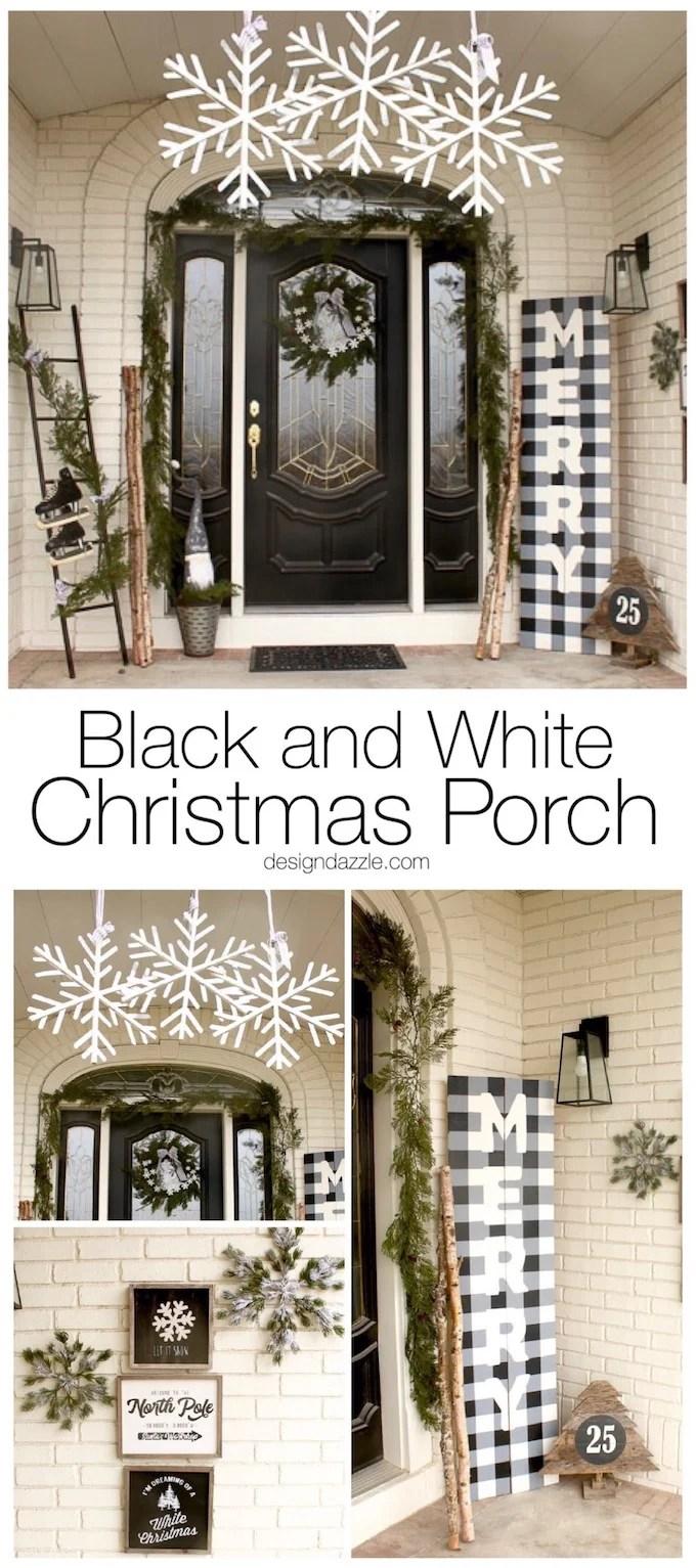 Black and White Christmas Porch - Design Dazzle on Black And White Backyard Decor  id=92248