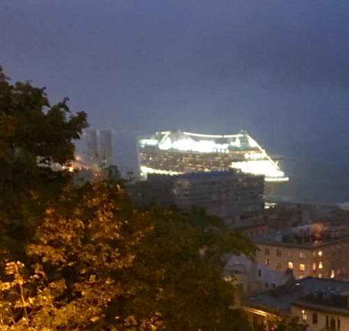 Cruise ships at night Quebec