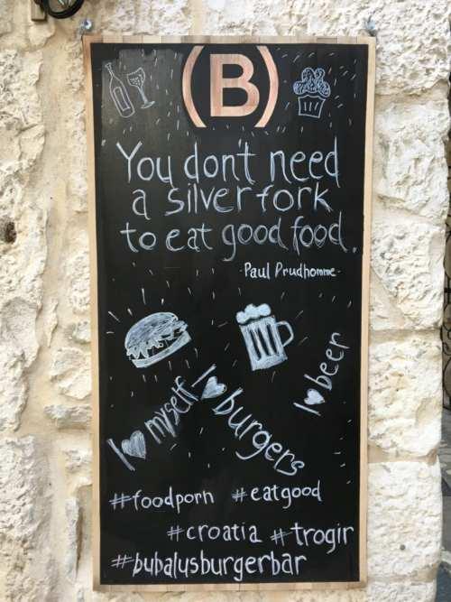 restaurant sign in Croatia