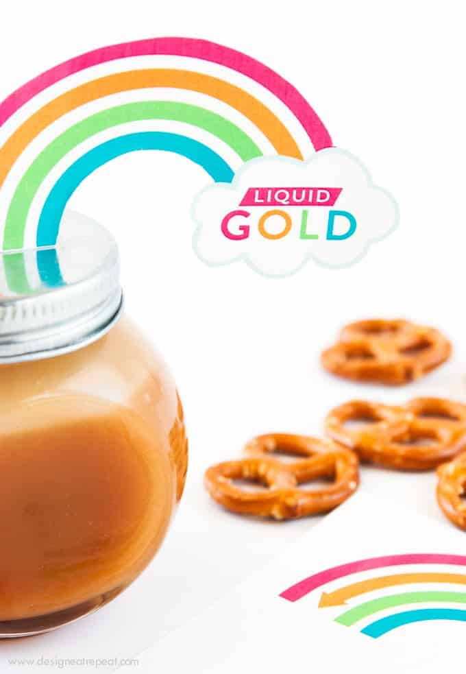 Attach these printable rainbow labels to homemade jars of caramel sauce for a fun and adorable St. Patrick's Day gift idea!