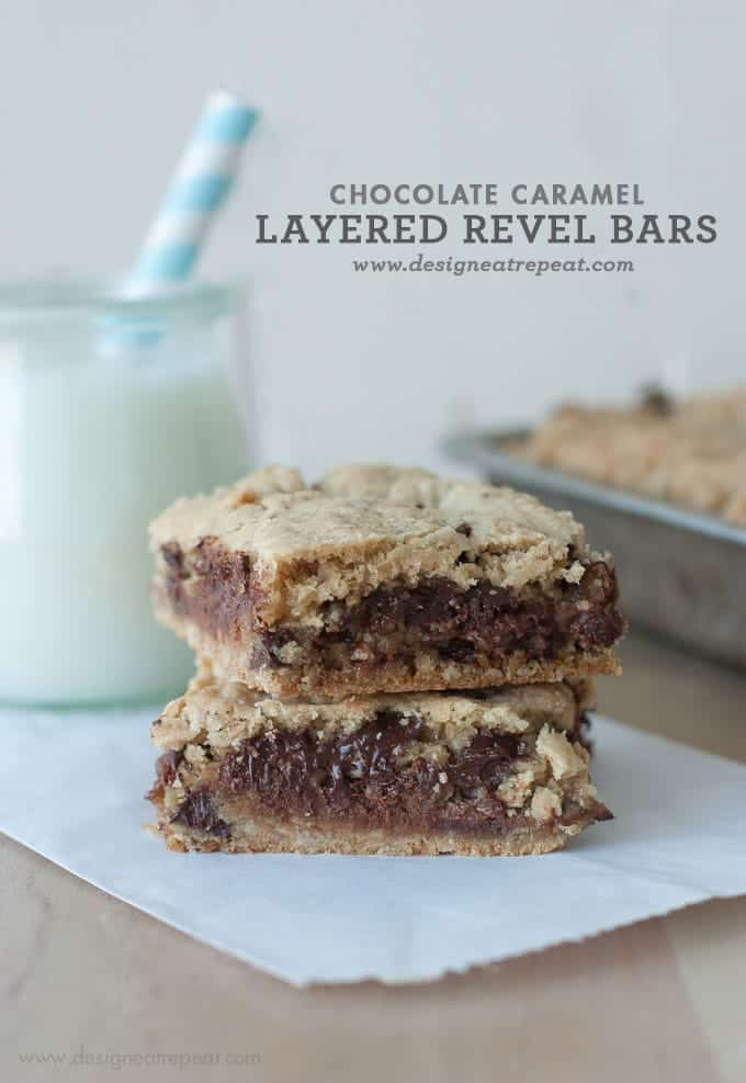 Chocolate Caramel Layered Revel Bars ||| by Design Eat Repeat