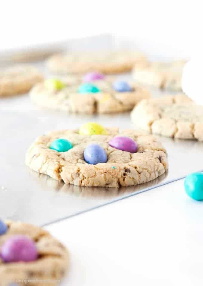 Chocolate Chip M&M Easter Egg Cookies from Design Eat Repeat