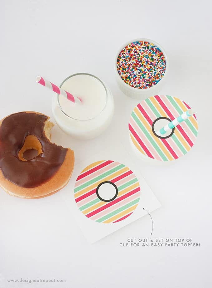Download these Donut Printable Drink Toppers for a fun DIY party idea! Get the free printables at Design Eat Repeat