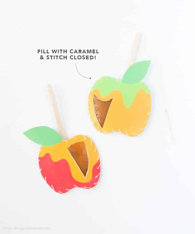 Download these free apple printables & make these DIY Caramel Apple Pouches! Fill with homemade caramel & stitch closed for a easy Fall treat!