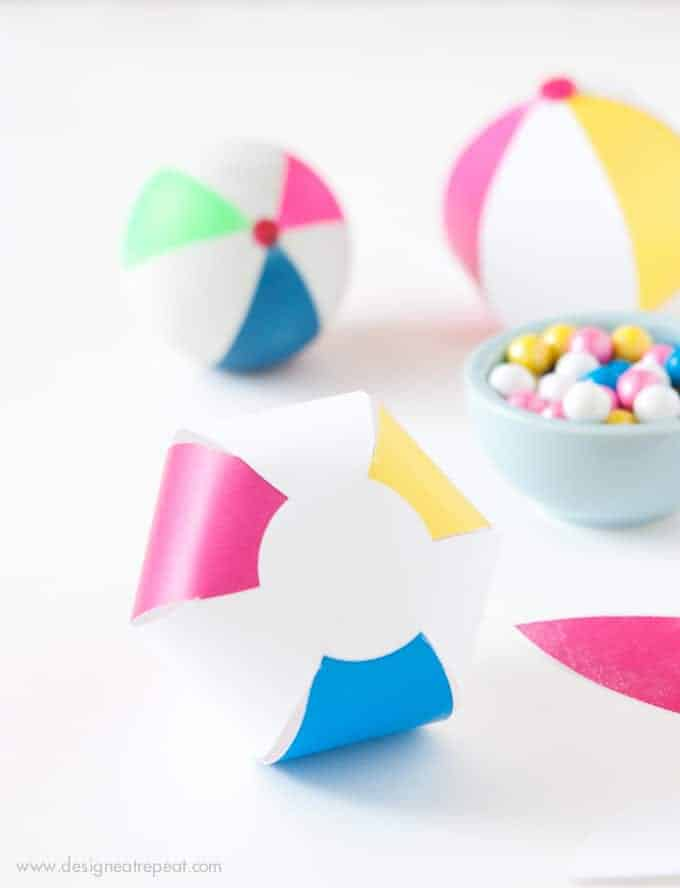 Download this free Beach Ball template to make an easy DIY Party Favor! Fill with candy, tape shut, and you're done! So fun and easy!