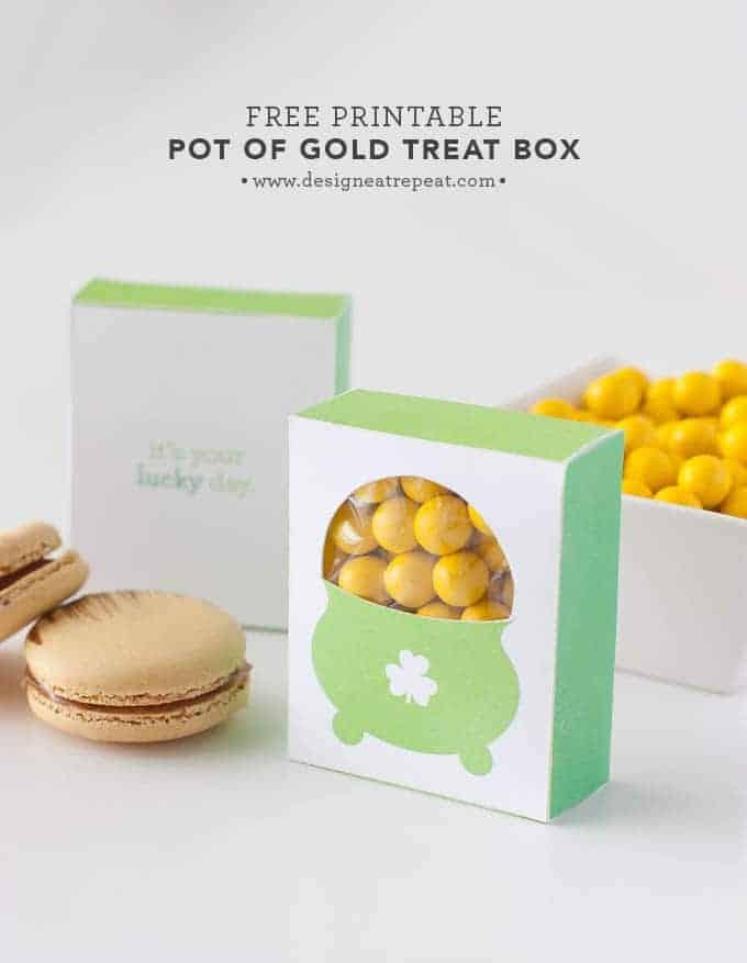 Free Printable Pot of Gold Treat Box | Design Eat Repeat