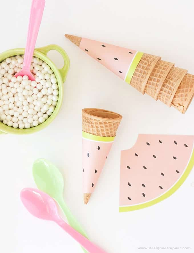 Free Printable Watermelon Icecream Cone Wrappers. Perfect for summer or fruit-themed parties!