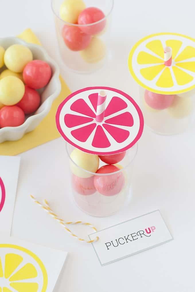 Lemonade Gumball Party Favors   by Design Eat Repeat Blog