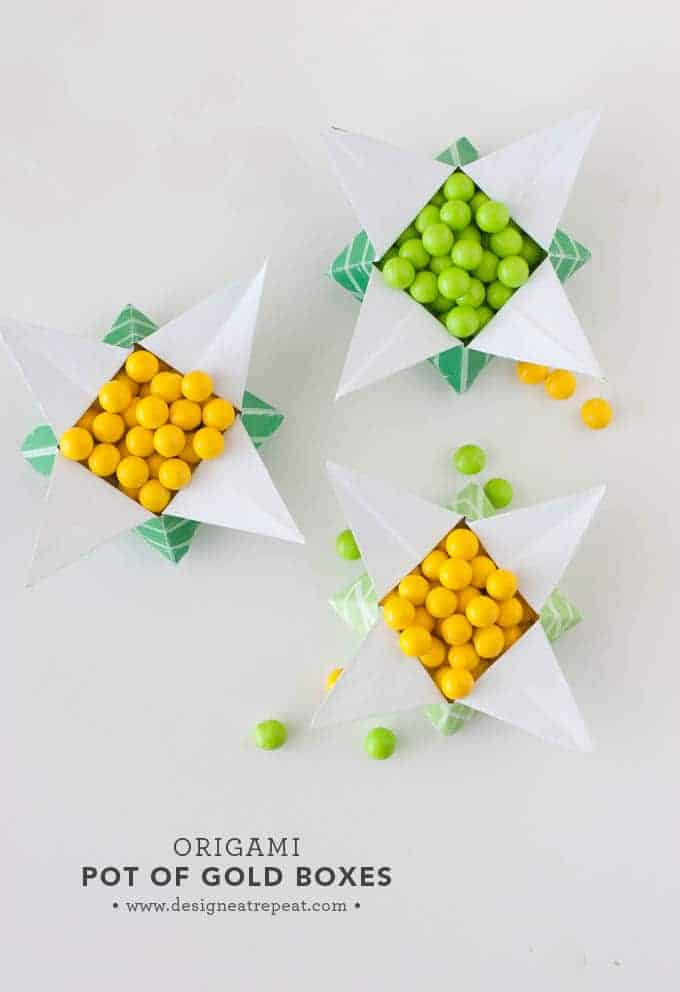 "Looking for a quick St. Patrick's Day craft? Print off this FREE paper & follow the tutorial to make a origami ""Pot of Gold"" box. Fill with candy for a quick & fun project you can make at home!"