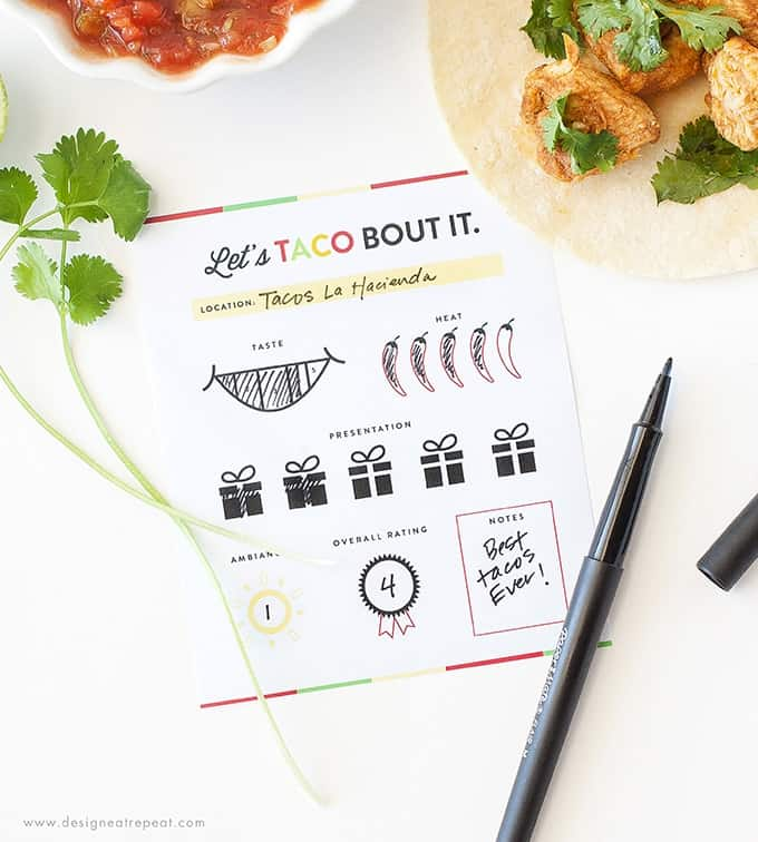 Love tacos? These free printable score cards are the perfect accompaniment to any taco tour! Rate each restaurant and keep track of your favorites! Download at Design Eat Repeat!