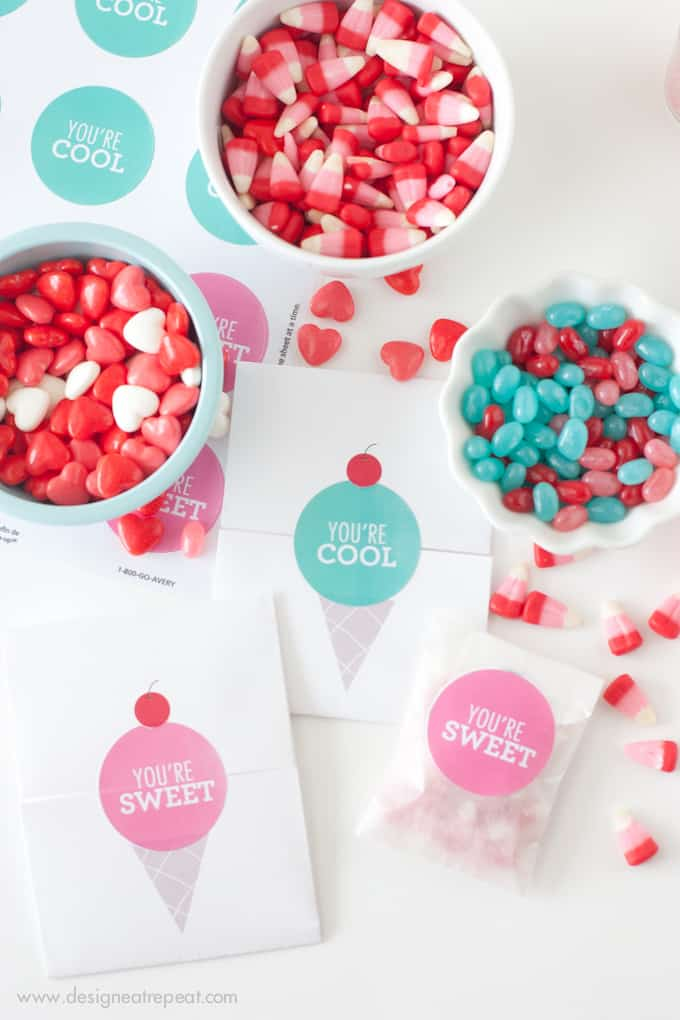 "Make your own DIY Valentines with these free printable ""Icecream Valentines"" from Design Eat Repeat"