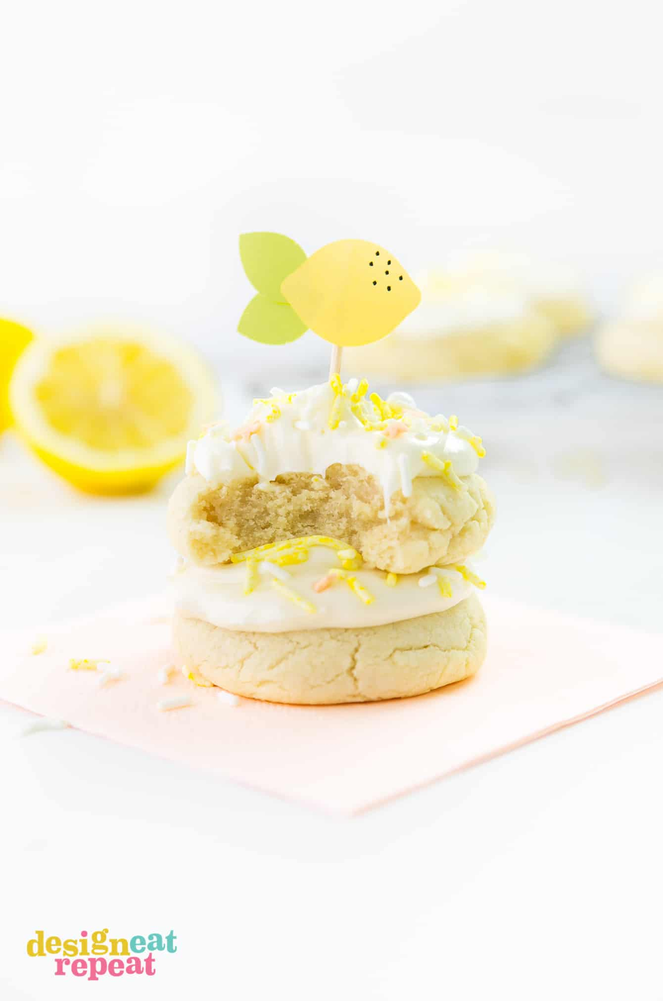 Welcome summertime with these delicious Soft & Thick Lemon Sugar Cookies. They are easy to make and are infused with a refreshing, light lemon flavor! Get the recipe at DesignEatRepeat.com