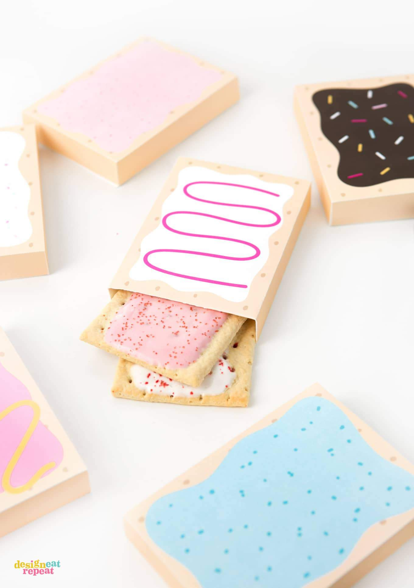 How fun are these?! Printable POP-TART treat boxes! With 8 delectable designs, you are sure to please your party goers with their flavor of choice! Download at DesignEatRepeat.com | #printable #silhouette