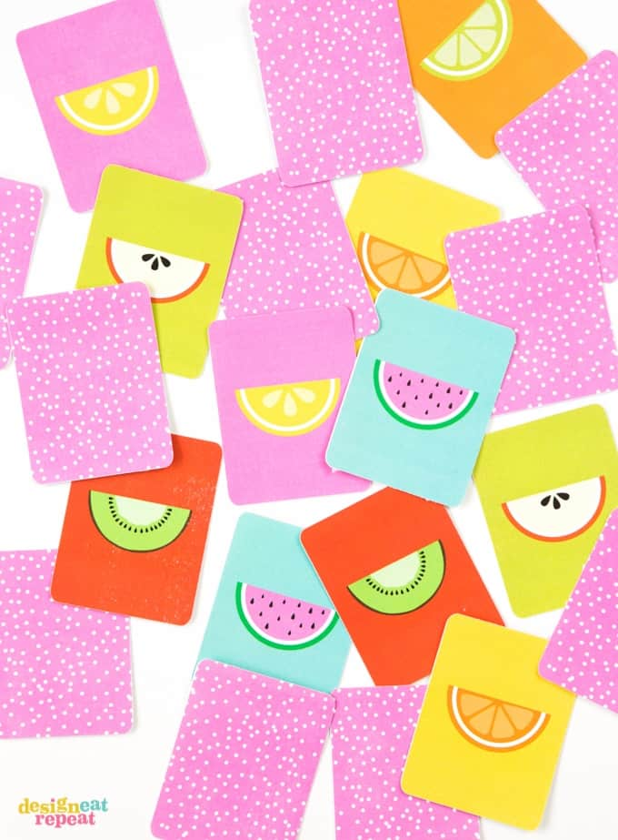 This adorable FREE fruit inspired printable memory game is a perfect way to keep the kiddos busy during the summer months!