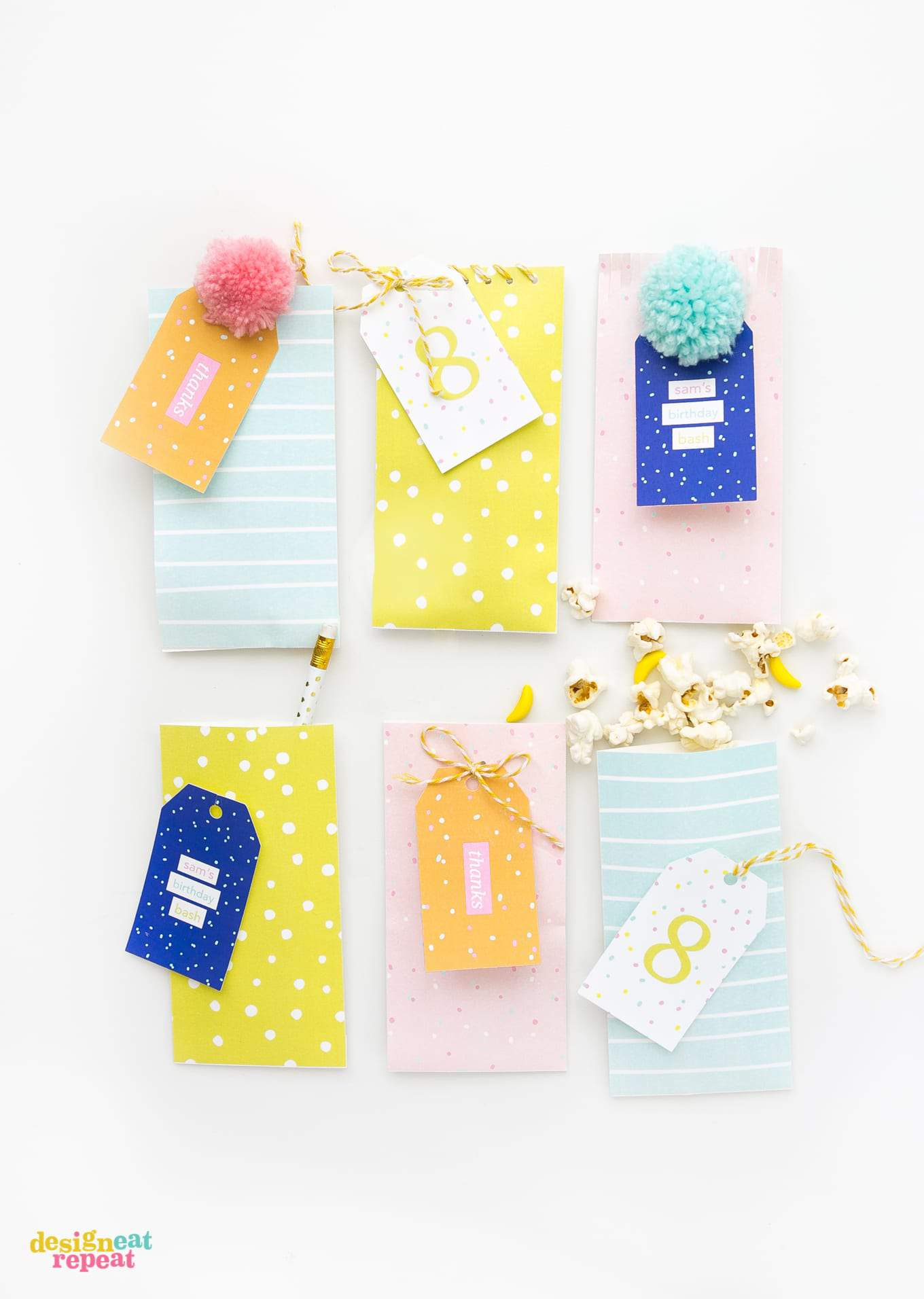 Download these fun & colorful printable birthday gift tags and attach them to treat bags for an easy party favor idea!