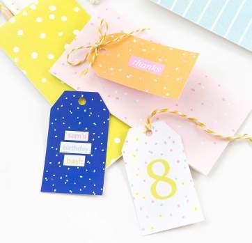 Colorful Printable Birthday Gift Tags