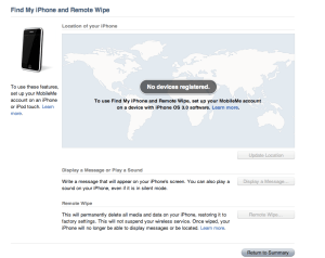 MobileMe Lost My iPhone page