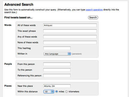 Sample Advanced Twitter Search