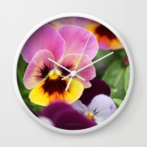 colorful-pink-and-yellow-pansy-flower-e0b-wall-clocks