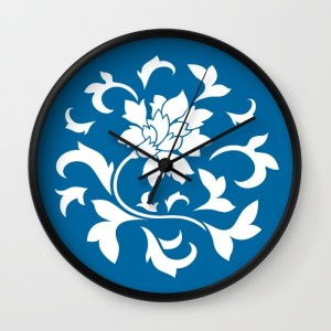 oriental-flower-snorkel-blue-wall-clocks
