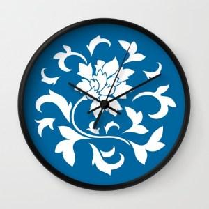 oriental-flower-snorkel-blue-wall-clocks
