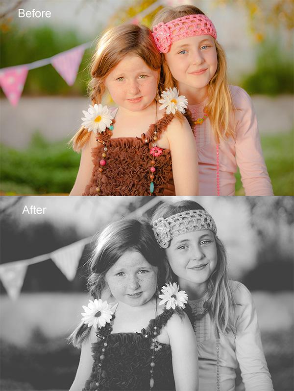 Matte High Contrast Black & White Photoshop Action