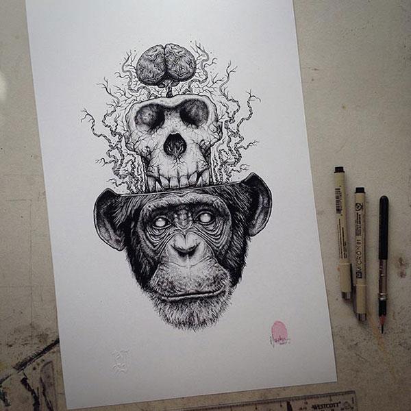 -misterioso-horripilante-gótico en blanco y negro de animales-cráneo-art-paul-jackson-15