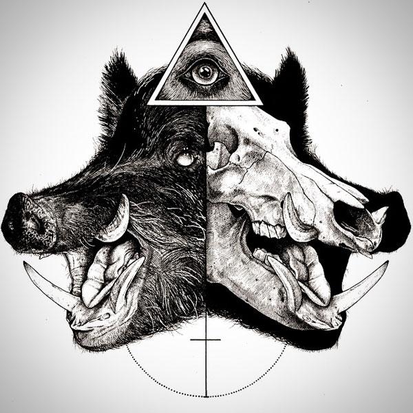 -misterioso-horripilante-gótico en blanco y negro de animales-cráneo-art-paul-jackson-5