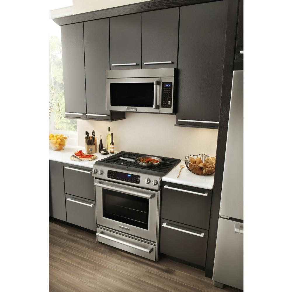 KitchenAid KDSS907XSP 30 Slide In Dual Fuel Range With 4 Sealed Burners 41 Cu Ft True