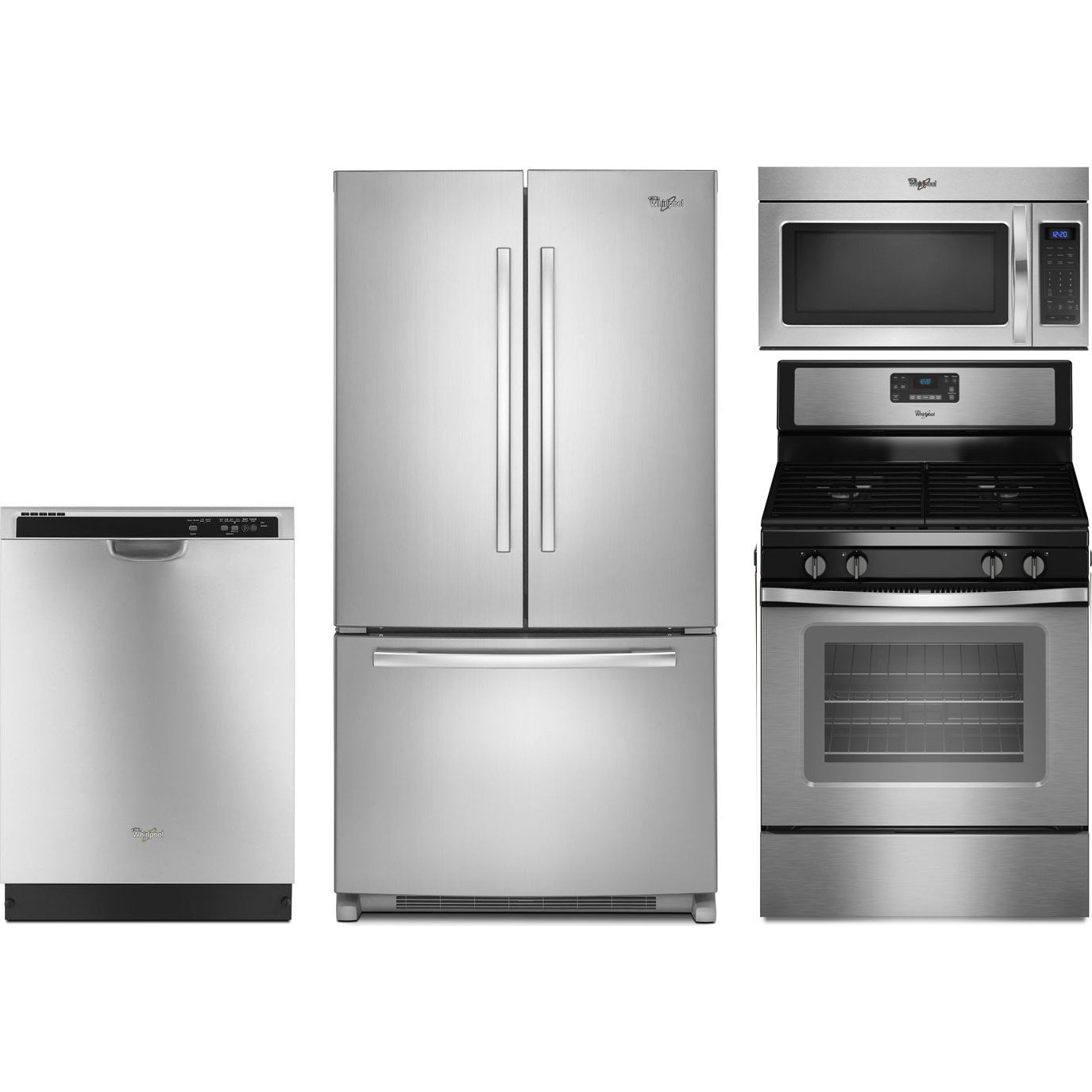 Whirlpool 4 Piece Kitchen Package With WFG515S0ES Gas Range WRF535SMBM Refrigerator WDF520PADM