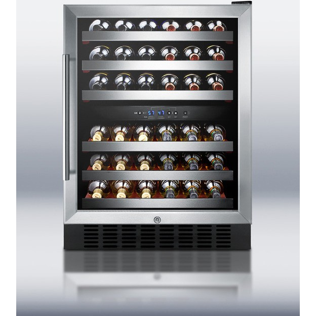 Summit SWC530LBISTCSS 24 Under Counter Dual Zone Wine Cellar 46 Bottle Capacity Stainless Steel