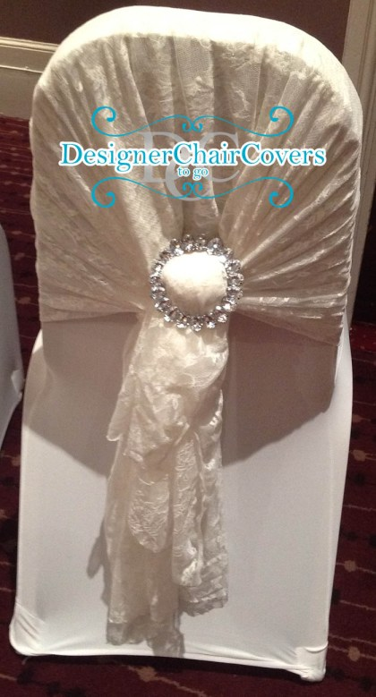 lace sash wedding chair cover vintage