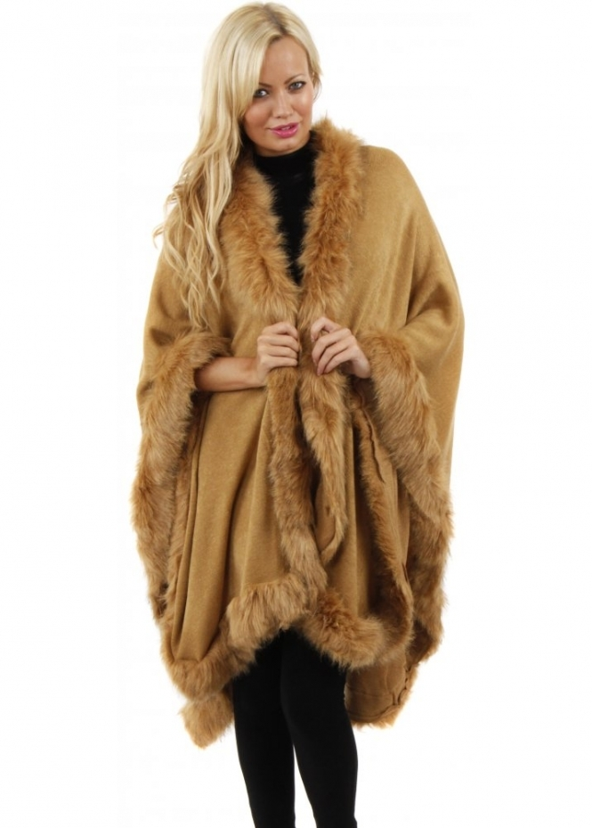 Urban Mist Faux Fur Cape Faux Fur Poncho Caramel Faux Fur Wrap