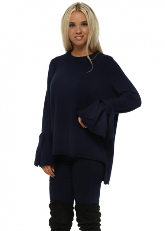 Navy Blue Tie Cuff Soft Knit Dip Back Jumper