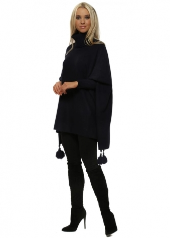 Navy Knitted Tassel & Pearl Polo Poncho Jumper