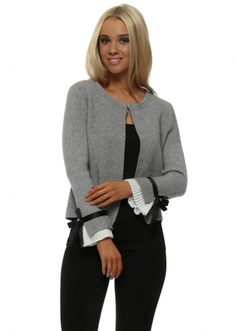 Grey Pleated Cuff Cardigan Jacket