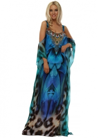 Hydra Blue Jewel Cold Shoulder Maxi Kaftan