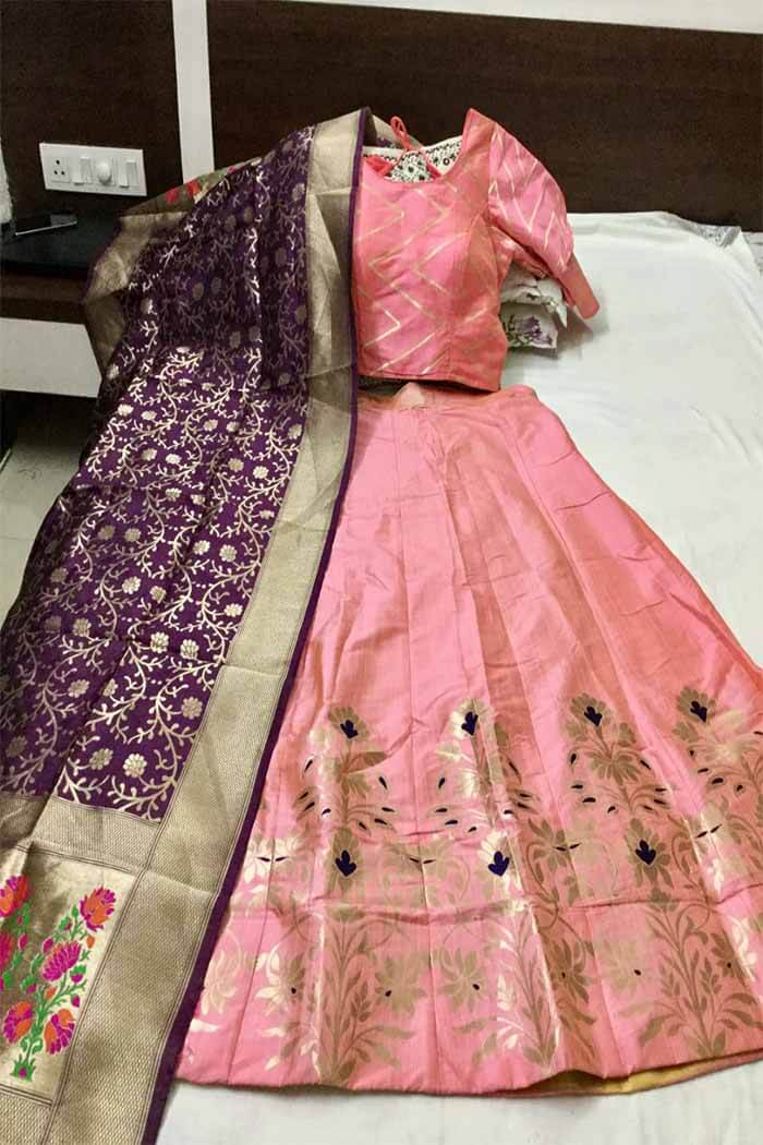 Light Pink Banarasi Lehenga-nm02