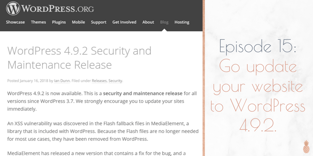 15: Go do the WordPress 4.9.2 update
