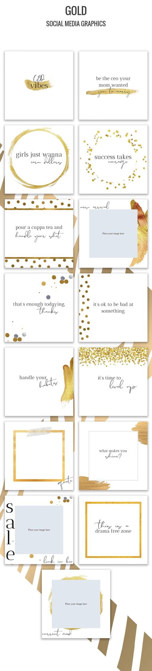 Gold Social Media Bundle Preview
