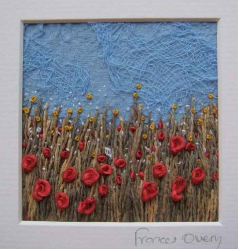 needle felted textile art with handstitching
