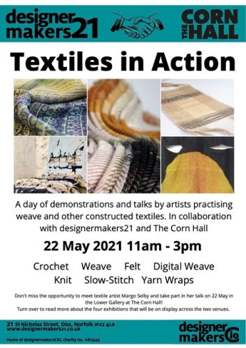 Details of Textiles in Action, a day of demonstrations and talks