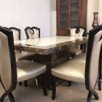 Monaco Marble Dining Table 220cm 6x Gold Cross Legged Chairs Designer Marble