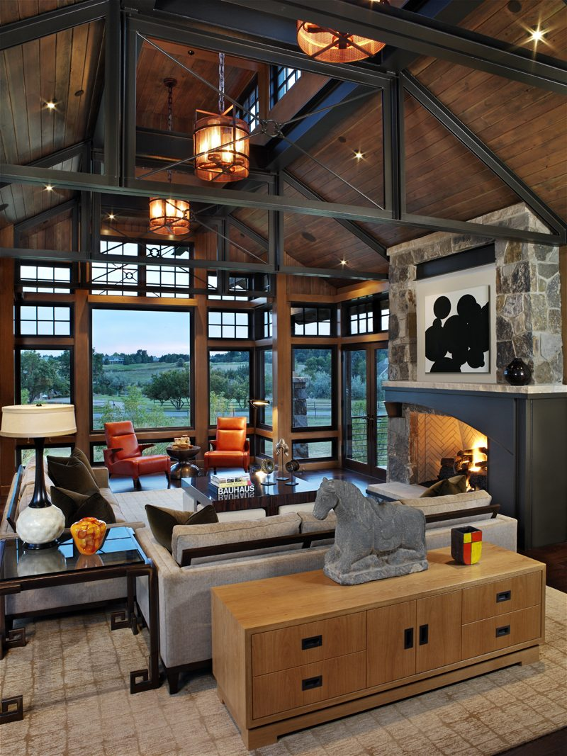 greg, Greg Comstock, comstock design, cherry creek, traditional family room with high ceilings and open beams