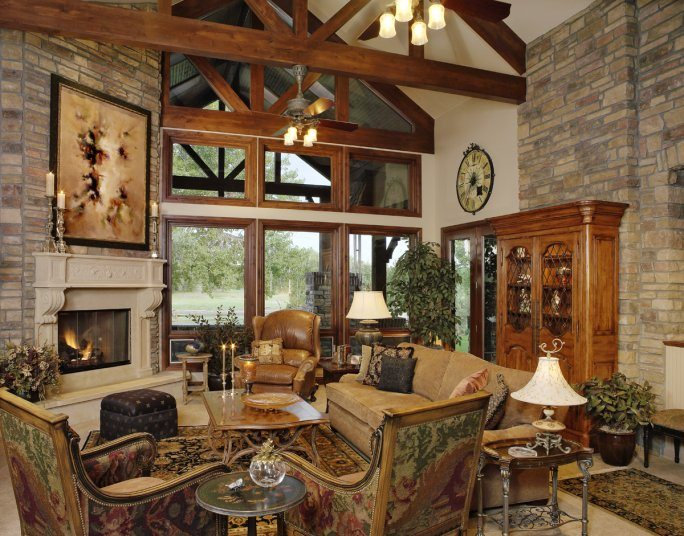 Pam Kelker Mountain Living Room with Fireplace