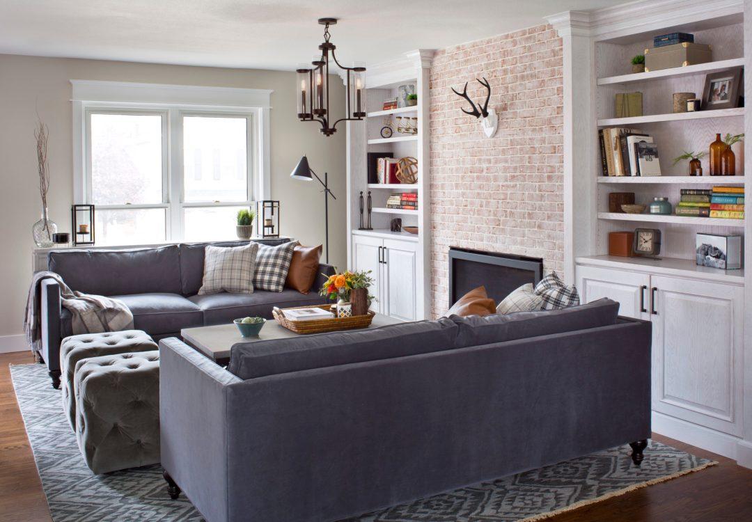 Julee Family, grey velvet sofa